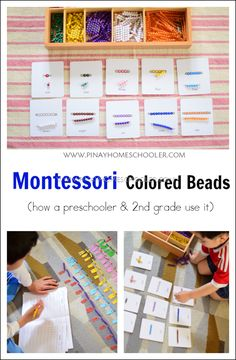 Learning how to count with Montessori Colored Beads