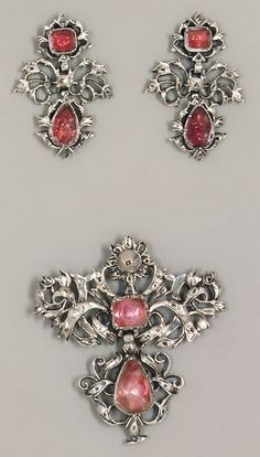 Brooch (part of a set); Europe, silver, jewels, 18th century