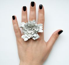 leather flower ring