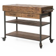 Kershaw Rustic Chunky Reclaimed Wood Iron Double Drawer Kitchen Island... (2,740 CAD) ❤ liked on Polyvore featuring home, furniture, storage & shelves, sideboards, storage furniture, drawer cart, reclaimed wood kitchen island, recycled wood furniture and reclaimed wood buffet