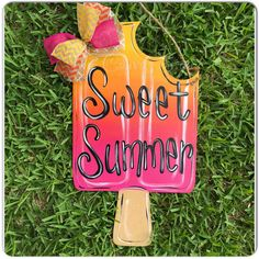 Items similar to Popsicle Sweet Summer Welcome Door Hanger pink hombre on Etsy Burlap Crafts, Wooden Crafts, Diy And Crafts, Wooden Door Signs, Wooden Doors, Burlap Door Hangers, Cross Door Hangers, Classic Doors, Craft Night
