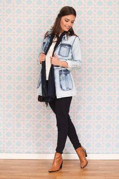 Oferta: parka jeans (ref: 4881). Compre Casacos Tita Catita aqui em 3x sem juros. Você vai amar.