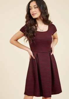 The Giving Decree A-Line Dress in Burgundy - Mid-length, Red, Blue, Stripes, Work, Casual, Nautical, Americana, Summer, Fall, Scoop