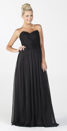 Bridesmaid Dresses (Black with pink sash) I like this but the pink ...