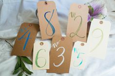 Beautiful hand-made watercolor manila & kraft tag table numbers for your wedding or special event. These simple table numbers will give your table decor style. Depending on the color you choose, these table numbers will create an elegant, modern, cottage-chic, or rustic feel.  Each table number will be created especially for you! These are hand-made using watercolor paint and a paint brush, these are not printed.  Customize the style of these table numbers to match the mood and setting of...
