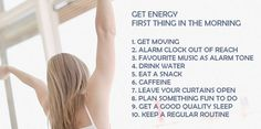 Learn how to get energy first thing in the morning. If you wake up feeling tired, here are tips for you to get energy first thing in the morning.