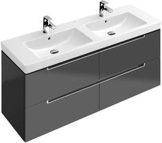 Villeroy & Boch Subway Vanity Unit x Two basins and four drawers offer style and space with this Villeroy & Boch double basin vanity unit. Also available in a range of colours with a matching basin Bathroom Sink Cabinets, Condo Bathroom, Bathroom Vanity Units, Wall Hung Vanity, Family Bathroom, Bathroom Furniture, Bathrooms, Furniture Vanity, Master Bathroom