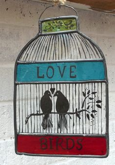 Stained Glass Hand Painted Bird Cage with love birds  £45.00
