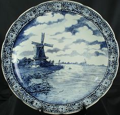 Large Vintage Blue & White Transferware Delft Plate Charger with Windmill