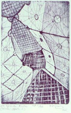 Mészáros Marianna: La Grande Arche #paris #lagrandearche #etching meszarosmarianna