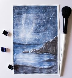 Milky Way over Beach - Watercolour Painting by Pattokarts.deviantart.com on @DeviantArt