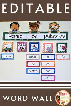 This is a ready-to-print set of beautiful Polka Dot EDITABLE Word Wall Banners, Headers and 200 High Frequency Words in Spanish from the Real Academia Española. Students will use these word wall cards as a reference all year long!. These banners and word wall cards are EDITABLE and thus enable you to type in your own words!. #pareddepalabras #pareddepalabrasenespanol #palabrasdealtafrecuencia #palabrasdealtafrecuenciakinder #palabrasdealtafrecuenciaprimergrado #highfrequencywordsinspanish Classroom Word Wall, Classroom Language, Classroom Decor, Bilingual Classroom, Bilingual Education, Behavior Management Strategies, Classroom Management, Classroom Activities, Learning Activities