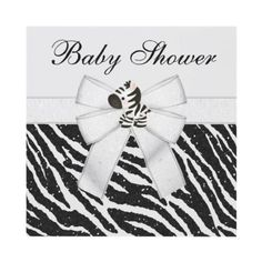 Cute zebra & glitter black & white zebra animal print neutral Baby Shower invitations. Decorated both sides. Easy to personalize online. $1.95