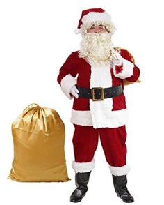 915ab407dab Adult Santa Suit XXL Christmas Holiday Costume Red Velvet With Hat Beard  Wig Adult Costumes