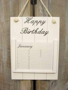 Houten verjaardagskalender wit 24 cm