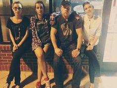 """Photo: Alanna Masterson shared this picture on Instagram with the caption """"3 Men and a Baby."""" ahahah, lovely. Christian Serratos, Alanna, Michael Cudlitz, Lauren and Steven Yeun behind the camera. #TWDFamily"""
