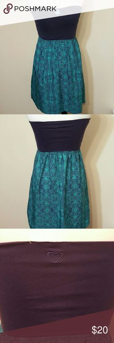 ROXY strapless dress navy blue & dark teal SIZE L ROXY Navy blue and dark teal strapless dress. SIZE large. Measurements in photos. Dress has a little stretch to the top. 92% rayon 8% spandex Roxy Dresses Strapless