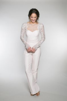 "61e236a1b37f The ""wedding pant suite"" features an illusion long sleeve bodice with a pin  tuck"