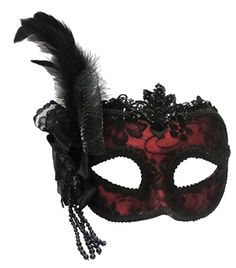 the elegant remo masquerade mask is worn via an adjustable headband and has a side feather masquerade halloween costumesblack - Halloween Costumes With A Masquerade Mask