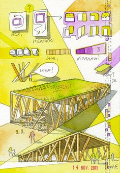 Pinned onto Drawings Board in Drawings and Paintings Category Plan Concept Architecture, Architecture Board, Architecture Graphics, Architecture Student, Architecture Drawings, Architecture Details, Design Maternelle, Parque Linear, Kindergarten Design