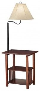 Oak End Table With Build In 54 Quot Floor Lamp Amp Magazine