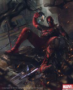 Deadpool vs Venom Symbiote , Denys Tsiperko on ArtStation at https://www.artstation.com/artwork/X0ebY