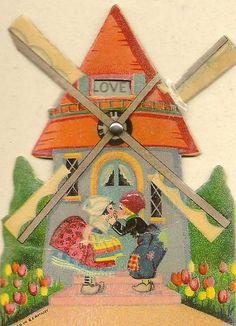vintage windmill card, 1930