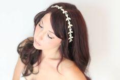 Bridal Headband Rhinestone and Opal Pearl Bridal Hair by deLoop