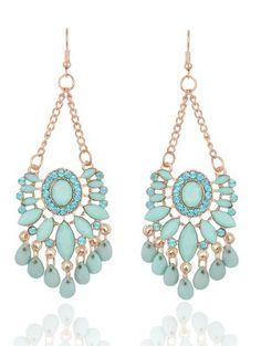 Rhinestone Floral Dangle Earrings - Fresh