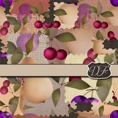 Paper scrapbook seamless pattern with fruits. от DigitalFuzzyfox