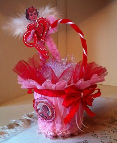 This adorable little cupid peat pot Valentine's Day basket was created by Sandi using my digital collage sheets.  Please stop by her blog to learn more about this darling piece! TFL Hugs Heather