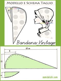 Bandana: types and patterns to them // Залия Курбанова Sewing Tutorials, Sewing Hacks, Sewing Crafts, Sewing Patterns, Sewing Projects, Fabric Crafts, Sewing Clothes, Diy Clothes, Scrub Hat Patterns