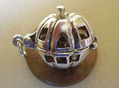 STERLING SILVER PUMPKIN FACE - CANDLE OPENING CHARM CHARMS,HALLOWEEN