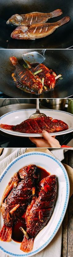 Chinese Braised Fish, Hong Shao Yu 红烧鱼, no water added, recipe by the Woks of Life asian cooking Fish Dishes, Seafood Dishes, Fish And Seafood, Seafood Recipes, Cooking Recipes, Fried Fish Recipes, Cooking Tools, Cooking Ideas, Crockpot Recipes