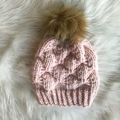 Pink Valentines Beanie, Alpaca Wool Hat, Faux Fur Pom, Knit Pink Toque, Chunky Beanie, Valentine's Day Outfit, Soft Pink Hat, Gift for Her