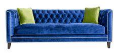 Pasargad Victoria Collecion Royal Blue Velvet Sofa on Chairish.com