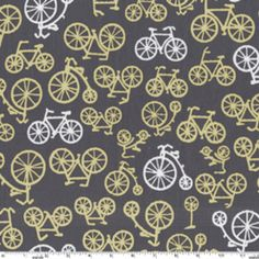 Bicycles in Citron by Michael Miller // for yellow & gray