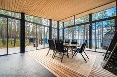 Modern Cabin in Finland Cabin House Plans, Best House Plans, Modern Bungalow, Modern Cottage, Small House Design, Modern House Design, Home Building Design, Building A House, Forest Cottage