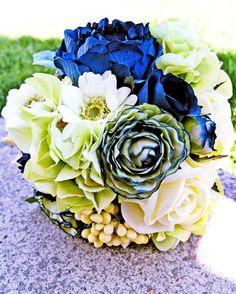 mint bridal bouquets | Wedding ideas / Navy Blue Bridal Bouquet Mint Green Wedding by ...