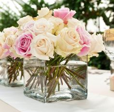 Roses in square glass vase