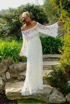 handmade BELL SLEEVE crochet lace bohemian wedding dress / off ...