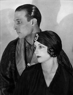 """[MARRIED] Rudolph Valentino & Natacha Rambova, worked together on """"Camille"""" and married on May 13, 1922, in Mexicali, Mexico, which resulted in Valentino's arrest for bigamy since he had not been divorced for a full year, as required by California law at the time. Days passed and his studio at the time, Famous Players-Lasky, refused to post bail. Having to wait the year or face the possibility of being arrested again, Rambova and Valentino lived in separate apartments in New York City…"""