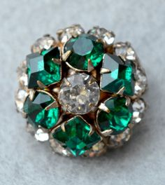 Tiny Green Rhinestone Dome Brooch or Hat Pin by HighClassHighway
