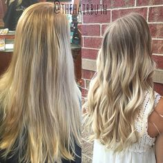 BEFORE & AFTER: foil conversion to a rooted balayage  #nofilter #spalon #spalonmontage #salon #hayleyatspalon #thehairbuth #cosmetology #cosmetologist #hair #haircut #haircolor #color #woodburyhair #job #career #askforhayley #loreal #lorealpro #cut #hairstylist #minnesotahair #twincities #licensedtocreate #naturallight #balayage #soft #curls #before #after #rootedlook