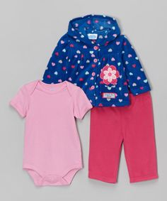 Look at this #zulilyfind! Blue & Pink Heart Hooded Cardigan Set #zulilyfinds