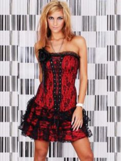 Sexy Red Corset Mini Party Dress With Black Lace Lingerie, Perfectly Plastic Body Underwear Red And Black Corset, Blue Corset, Black Lace Lingerie, Sexy Lingerie, Cheap Party Dresses, Club Dresses, Dress Brands, Dresses Online, Corsets