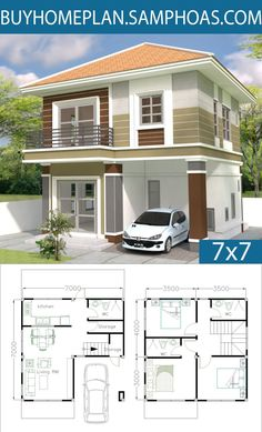 Home Design Plan with 3 Bedrooms - Samphoas. 3d Home Design, Simple House Design, Home Design Plans, Modern House Design, Design Blogs, Design Ideas, Dream House Plans, Modern House Plans, Small House Plans