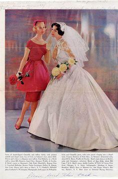 Vintage Brides — From the Autumn 1959 Modern Bride Vintage Wedding Photos, Vintage Bridal, Vintage Weddings, Vintage Glamour, Vintage Style, Elegant Bride, Beautiful Bride, Colored Wedding Dresses, Wedding Gowns