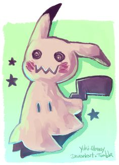 """yuki-almasy: """" ★Mimikkyu★ Hey! I just saw this new Pokemon from the upcoming title Pokemon Sun/Moon. It's the perfect mix for me: ghost + Pikachu (and fairy) haha I really like it, so I had to draw it! Have an awesome day/night!"""