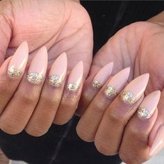 Nude + Gold Half Moon Stiletto Nails